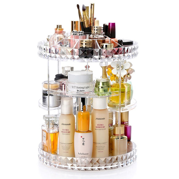 360 Degree Rotation Transparent Acrylic Cosmetics Storage Box Fashion Spin Multi-function Detachable Makeup Beauty Organizer - 88digital