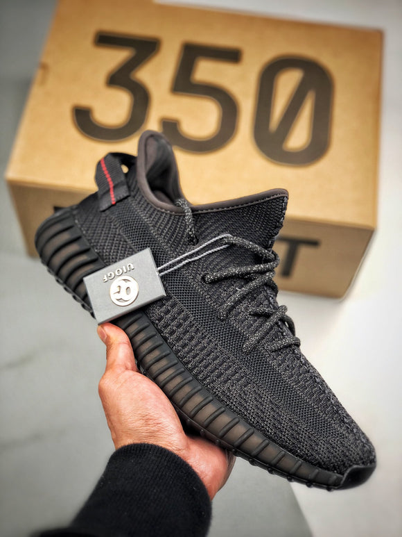 Adidas YEEZY BOOST 350 V2 Static Non Reflective Black Black Men's Women's Running Shoes Sneakers FU9006
