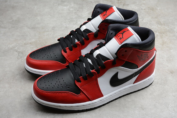 Nike Air Jordan 1 MID Chicago Toe Black Gym Red White Women Shoes Sneakers 554724-069