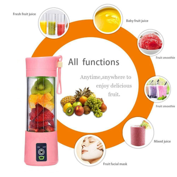 380ml Portable Juicer Electric USB Rechargeable Smoothie Blender Machine Mixer Mini Juice Cup Maker - 88digital