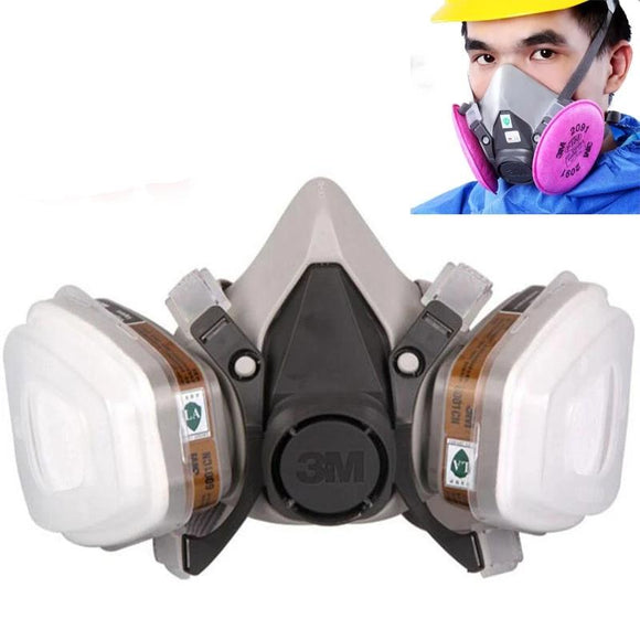 3M 6200 Gas Mask Paint Spraying Safety Work Half Face Respirator Industry Dust Mask With Filter - 88digital