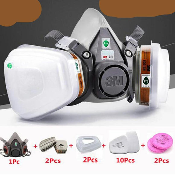 3M 6200 Half Face Painting Spraying Respirator Gas Mask  17 In 1 Suit Safety Work Filter Dust Mask - 88digital