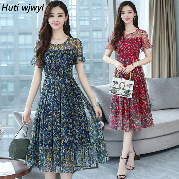 3XL Plus size Summer Floral Chiffon Boho sundress Korean Elegant Women Beach Midi dresses - 88digital