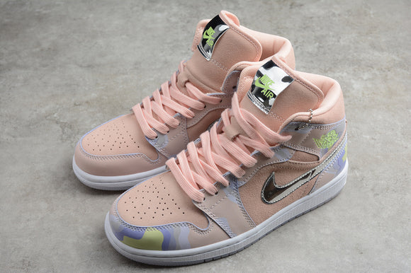 Nike AIR JORDAN 1 MID SE Perspective P(her)spective Washed Coral / Chrome Light Whistle Men Women Shoes Sneakers Size 36-46 / 5.5-12 CW6008-600