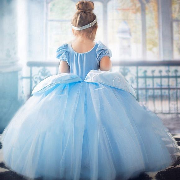 4 7 8 9 10 Years Elsa Dress Children Role-Play Costume Princess Cinderella Girls Ball Gown Party Christmas Cosplay Vestido Blue - 88digital