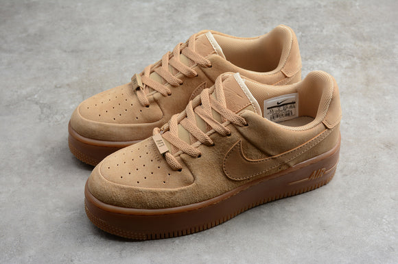 Nike Air Force 1 '07 AF1 Wheat Color Sage Club Gold Gum Light Brown Women Sneakers Shoes Size 36-39 / 5.5-8 CT3432-700