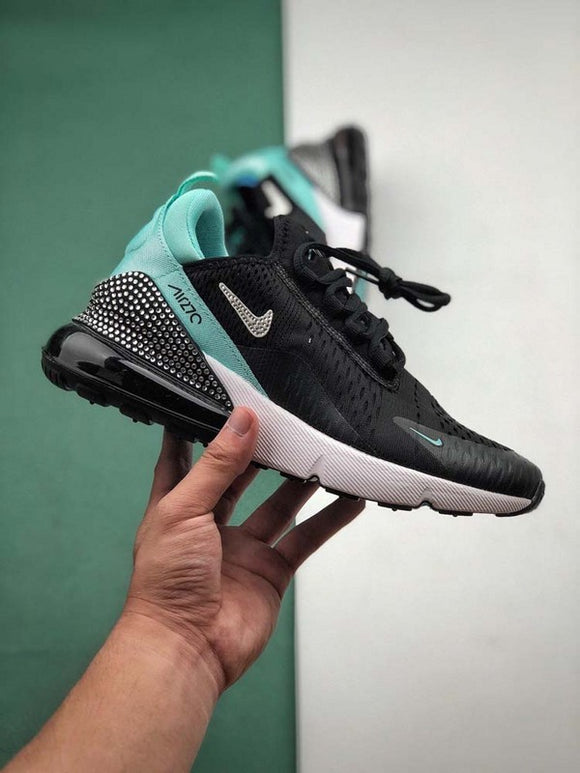 Nike Air Max 270 Black White Light Blue Women's Shoes Sneakers AH6799-222