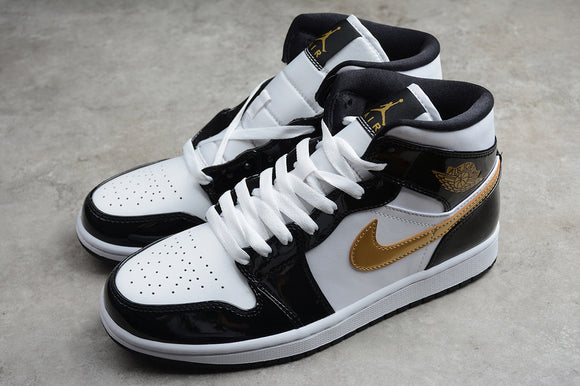 Nike AIR JORDAN 1 MID Patent Leather SE Black Metallic Gold White Men Shoes Sneakers Size 40-46 / 7-12 852542-007