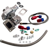 4AN 10AN Feed + Return Oil Lines w/ T3/T4 T04E Turbocharger Turbo 0.63 A/R - 88digital
