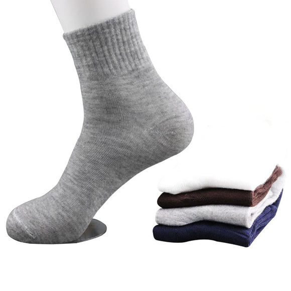 5 Pairs All Seasons Men's Business Casual Cotton Socks Spring Summer Autumn Winter Solid Colors Crew Socks Male Breathable Socks - 88digital