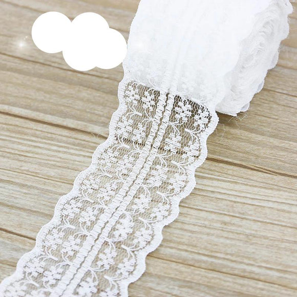 45mm White lace fabric Webbing Decoration (5 yards/roll) - 88digital