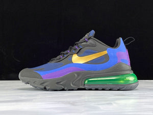 Nike Air Max 270 React Heavy Metal Black Blue Hyper Royal Gold / Black Deep Royal Blue Hyper Royal University Gold Men Shoes Sneakers AO4971-005
