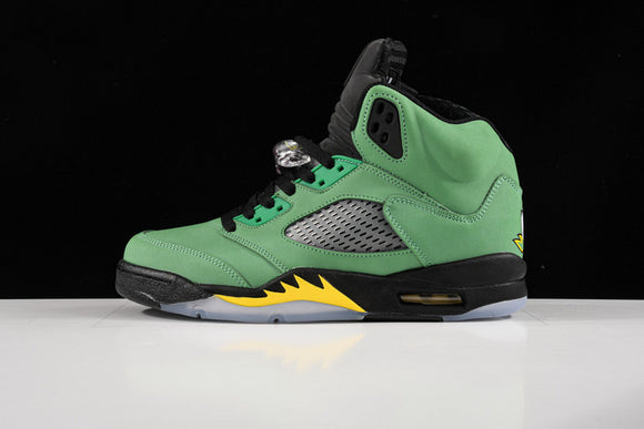 Nike Air Jordan 5 Retro Oregon Apple Green Black Yellow Strike Black Men Women Shoes Sneakers Size 36-45 / 5.5-11 CK6631-307