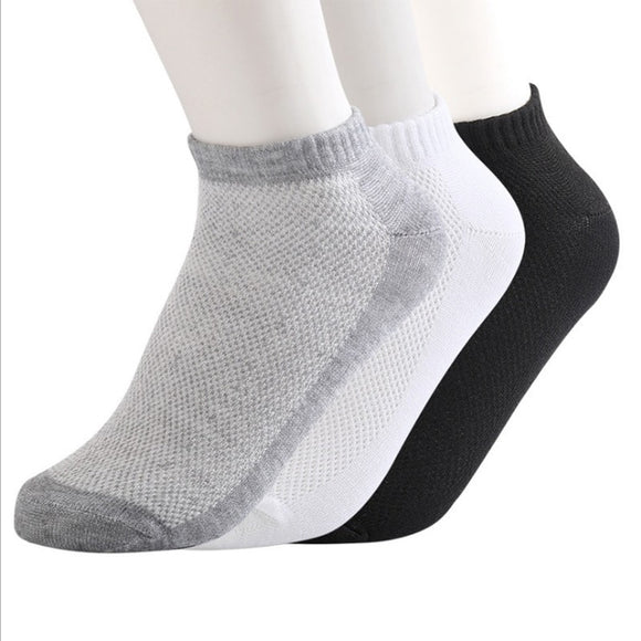 5pair Men Socks Brand Quality Polyester Casual 3 Pure Colors Breathable Calcetines Mesh Short Boat Socks For Men 10pcs=5pairs - 88digital