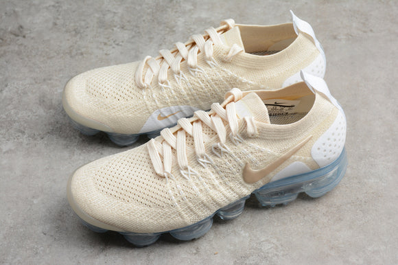 Nike Air Vapormax Flyknit 2.0 Light Cream White Metallic Gold Women Shoes Sneakers 942843-201