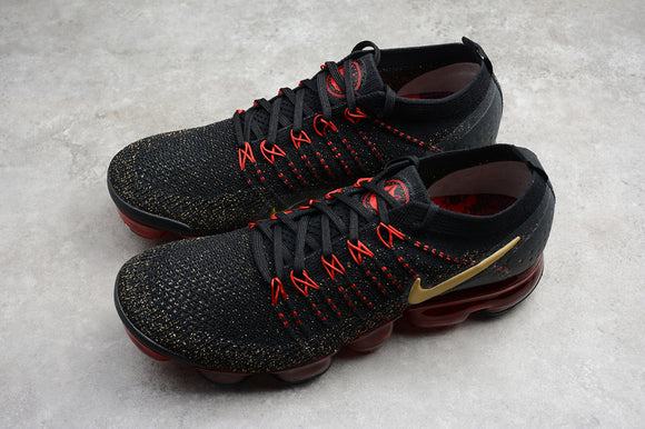 Nike Air VaporMax Flyknit 2 Red Chinese New Year Black Metallic Gold Mens Sneakers BQ7036-001