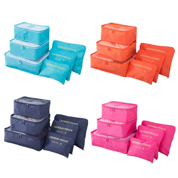 6Pcs/Set Luggage Packing Organizer Set Nylon Packing Cube Travel Bag System Durable Unisex Clothing Sorting Organize - 88digital