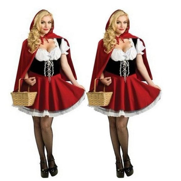 6XL Sexy Women Little Red Riding Hood Costumes Adult Anime Cosplay Fantasy Game Uniforms Halloween Party Dress Disfraces - 88digital