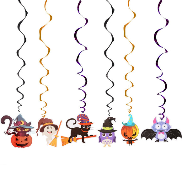 6pcs/set Ceiling Hanging Swirl Decoration Halloween Party Decoration Room Bar Festival Party Supplies DIY Event Party Ornaments - 88digital