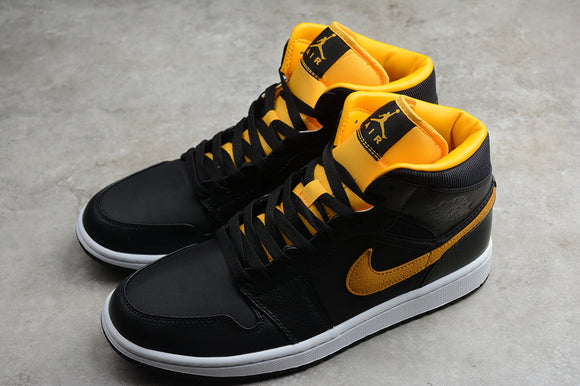 Nike AIR JORDAN 1 MID Black University Gold White Men Shoes Sneakers Size 40-46 / 7-12 CI9352-001