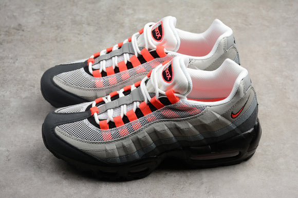 Nike AIR MAX 95 White Red Solar Red Neutral Grey Men Women Shoes Sneakers 609048-106