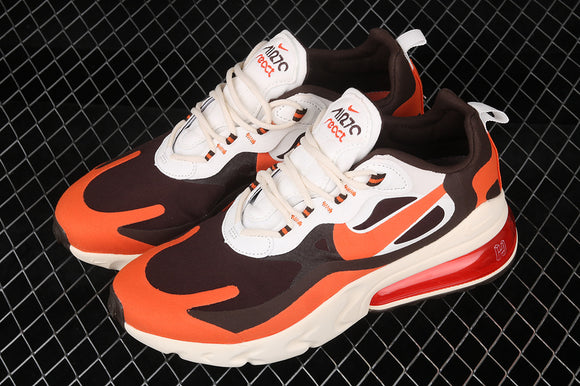 Nike Air Max 270 React White Orange Black Men Women Shoes Sneakers CT2864-300