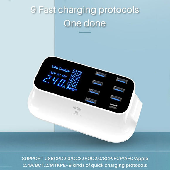 8 Port USB Charger PD 18W Quick Charge QC 4.0 QC3.0 LED Display Fast Charging For iPhone 8 X XS Xiaomi Samsung Phone Charger - 88digital