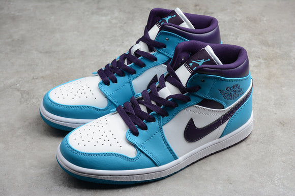Nike Air JORDAN 1 Mid Hornets Blue Lagoon Grand Purple White Men Women Shoes Sneakers 554724-415