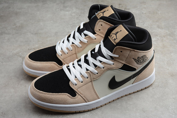 Nike AIR JORDAN 1 MID SE Milk Tea Barely Orange Black White Men Women Shoes Sneakers Size 36-46 / 5.5-12 BQ6472-800