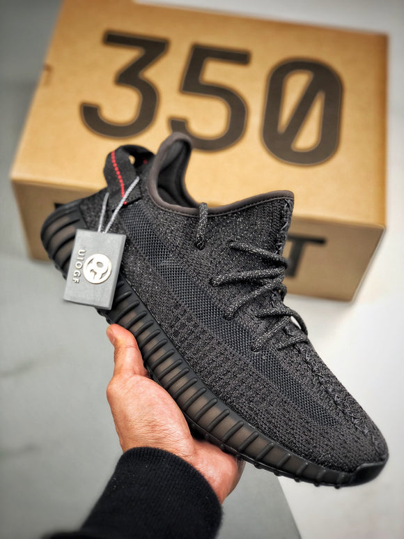 Adidas YEEZY BOOST 350 V2 Static Reflective Black Black Men's Women's Running Shoes Sneakers FU9007