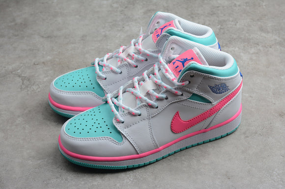 Nike AIR JORDAN 1 MID GS Grey Digital Pink Aurora Green Women Shoes Sneakers Size 36-40 / 5.5-8.5 555112-102