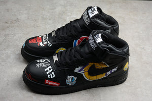 NIKE AIR Force 1 Supreme X NBA Supreme MID Black Multicolor Men Women Shoes Sneakers Size 40-46 / 7-12 AQ8017-001