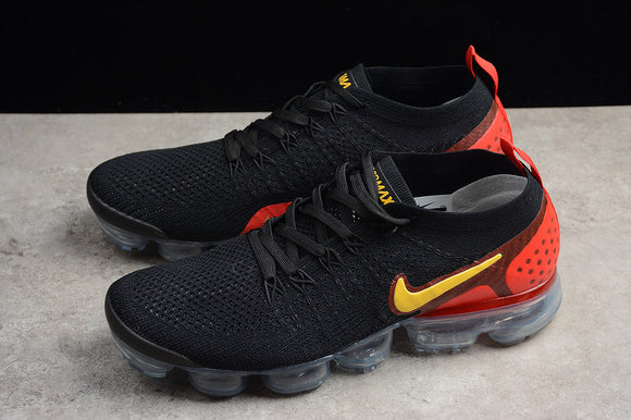 Nike Air Vapormax Flyknit 2.0 Black Laser Orange Total Crimson Men Shoes Sneakers 942842-005