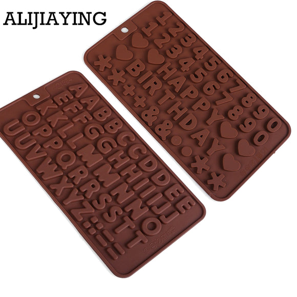 Silicone chocolate mold a to z letter and 0 to 9 number fondant molds - 88digital