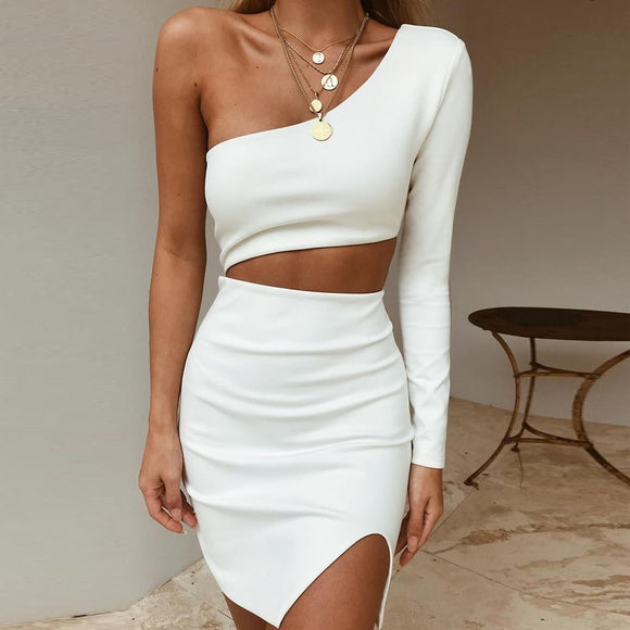 One Shoulder Bodycon Bandage Dress Celebrity Evening Party Dress Sexy Hollow Out Club Dress - 88digital