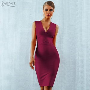 Bandage Dress Orange Red Tank Sexy Deep V-Neck Sleeveless Bodycon Celebrity Runway Party Dress - 88digital