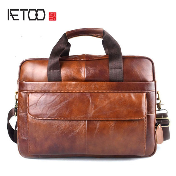 Genuine Leather real leather laptop bag business Handbags Cowhide Men Crossbody Bag Men's Travel brown leather briefcase - 88digital