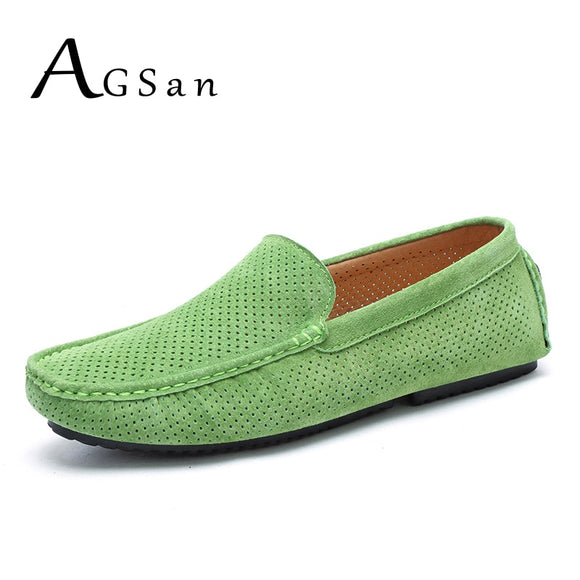 Summer Men Loafers Genuine Leather Casual Shoes Fashion Slip On Driving Shoes Breathable Moccasins Green Suede Loafers - 88digital