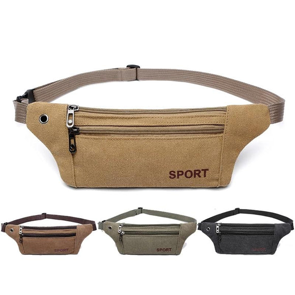 Men Casual Durable Fanny Waist Pack Male Waist Bags Belt Canvas Hip Bum Military Bag Pouch Three Zipper Pocket - 88digital