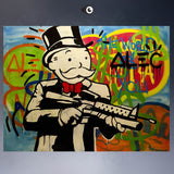 ALEC-MONOPOLY HUGE-GUN canvas print POP ART Giclee poster print on canvas for wall decoration painting - 88digital