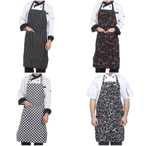 Adjustable Half-length Adult Apron Striped Hotel Restaurant Chef Waiter 2 Pockets Apron - 88digital