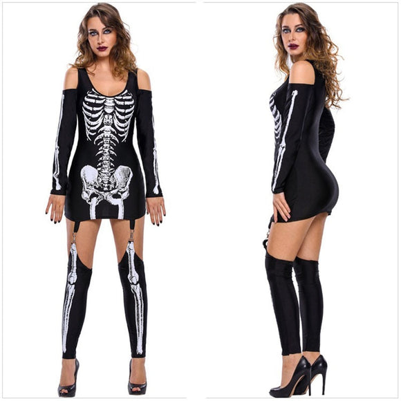 Adult Women Halloween Scary Skeleton Costume Demon Zombie Cosplay Outfit Sexy Cold Shoulder Garter Dress For Teen Girls & Lady - 88digital