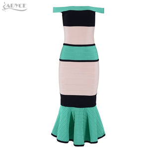 Bandage Dress Women Sexy Slash Neck Short Sleeve Off Shoulder Club Celebrity Evening Party Dress - 88digital