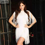 Fringe Bandage Dress Women Elegant Club Party Dress Sexy O Neck Sleeveless - 88digital