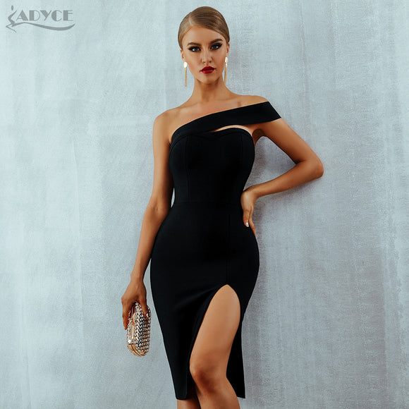 White Bodycon Bandage Dress Women Sexy Elegant Black One Shoulder Midi Celebrity Runway Party Dresses - 88digital