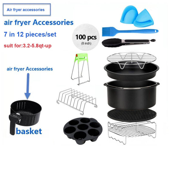 Air Fryer Accessories Deep Fryer Universal, Air Fryer Accessories Fit for Airfryer 3.2QT-5.8QT-up, 7inch, 12 Pieces Set - 88digital
