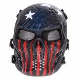 Airsoft Paintball Party Mask Skull Full Face Mask Army Games Outdoor Metal Mesh Eye Shield Costume for Halloween Party Supplies - 88digital
