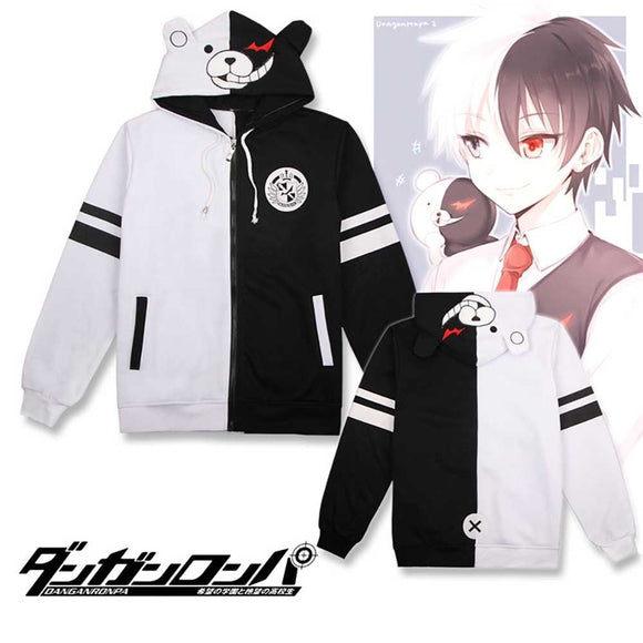 Anime Danganronpa Monokuma Cosplay Costume Unisex Hoodie Sweatshirt Hooded Black White Bear Long Sleeve daily casual coat Jacket - 88digital