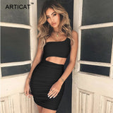 Articat Off Shoulder Sexy Bodycon Bandage Dress Women Sexy Strapless Long Sleeve Hollow Out Party Dresses Vestidos Summer Dress - 88digital
