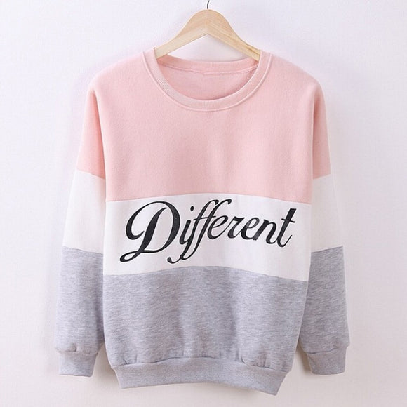Autumn Spring Women Hoodies Patchwork Sweatshirt Fleece Tracksuits Long Sleeve O-neck Pullover Tops - 88digital